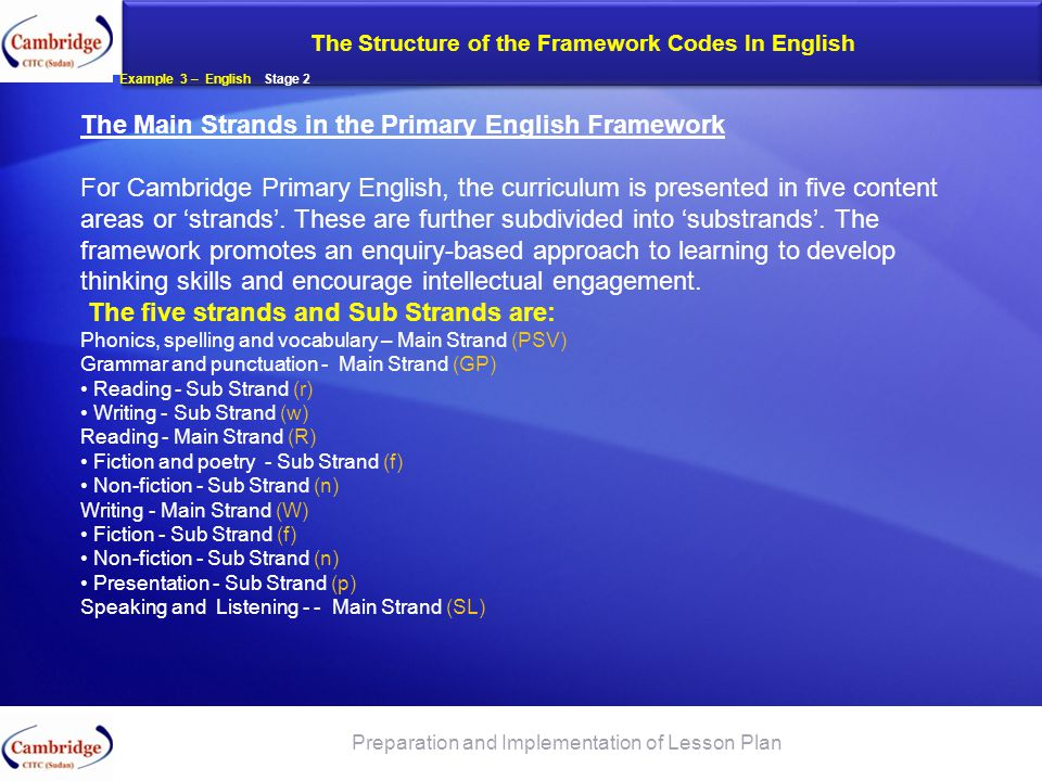 The Structure of the Framework Codes In English