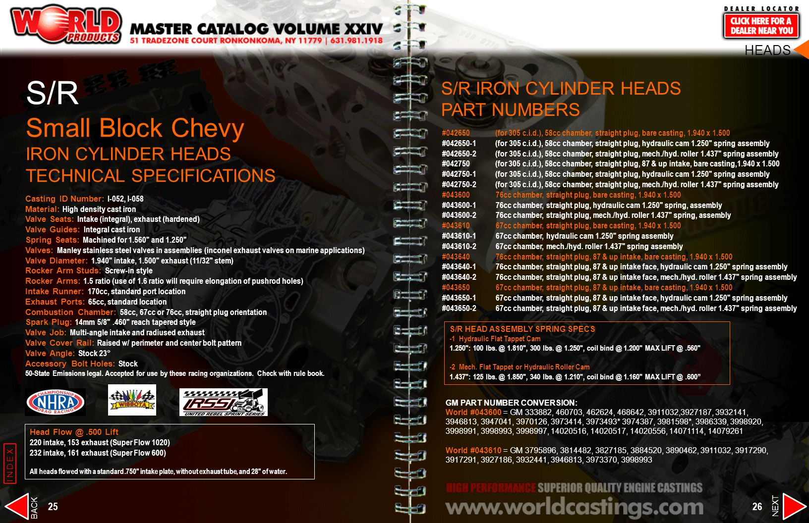 S/R Small Block Chevy IRON CYLINDER HEADS TECHNICAL SPECIFICATIONS