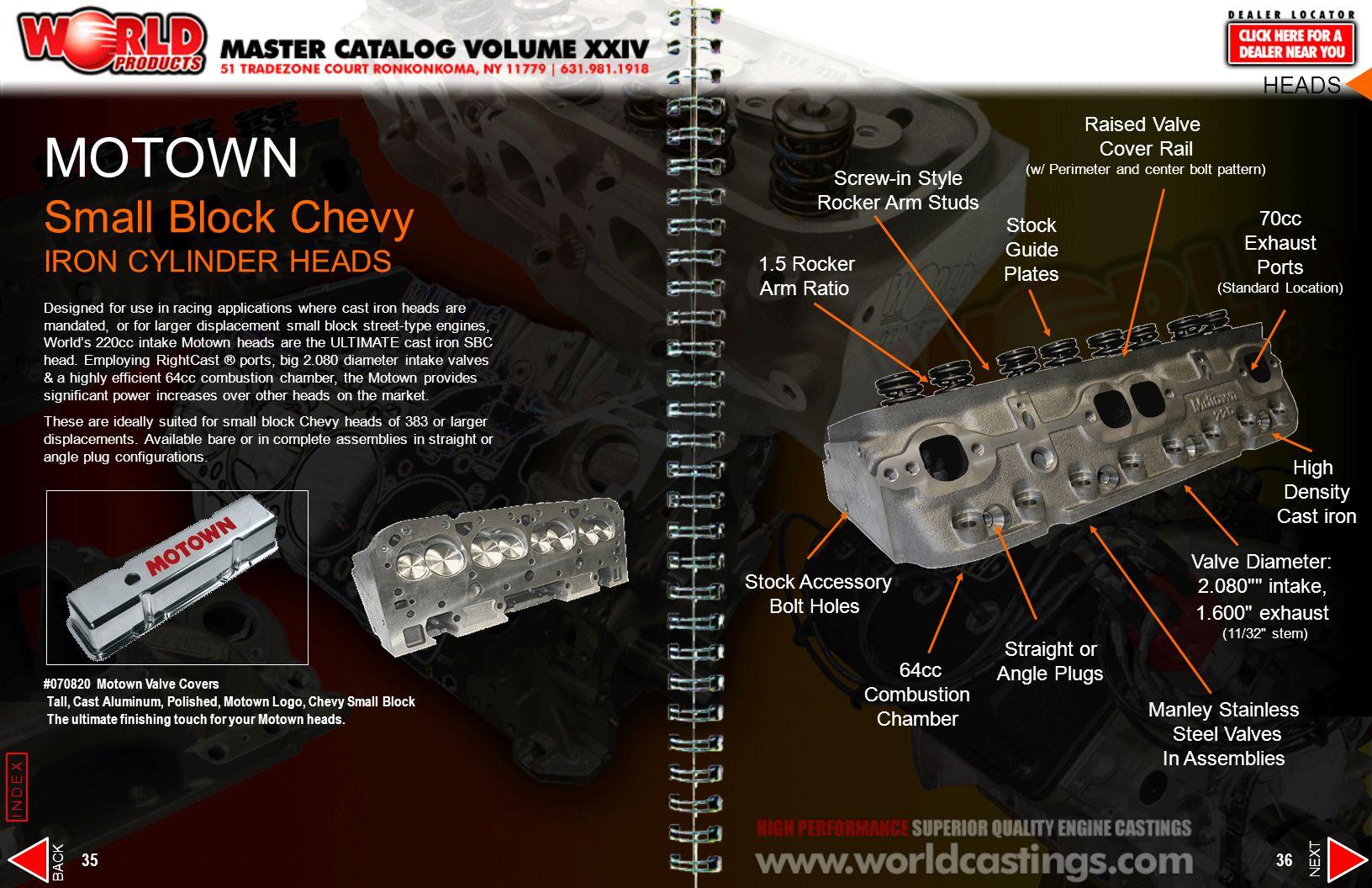 MOTOWN Small Block Chevy IRON CYLINDER HEADS HEADS Raised Valve