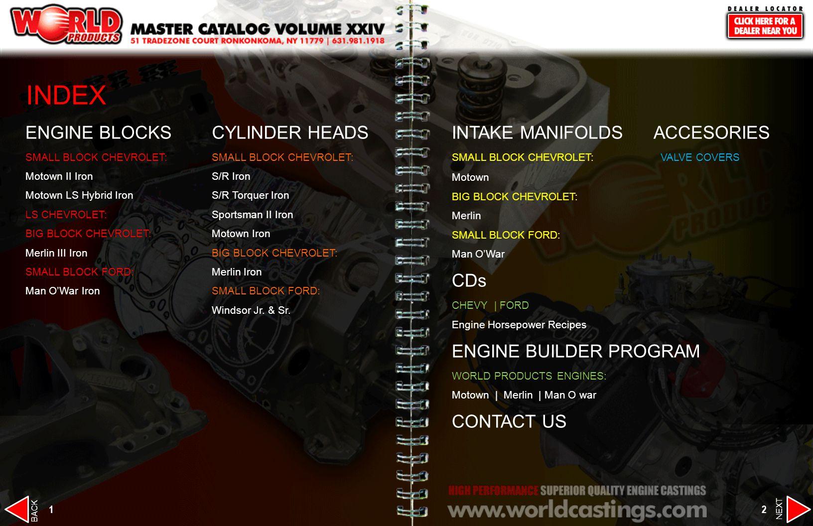 INDEX ENGINE BLOCKS CYLINDER HEADS INTAKE MANIFOLDS ACCESORIES CDs