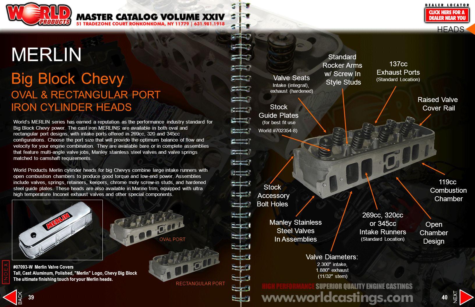 MERLIN Big Block Chevy OVAL & RECTANGULAR PORT IRON CYLINDER HEADS