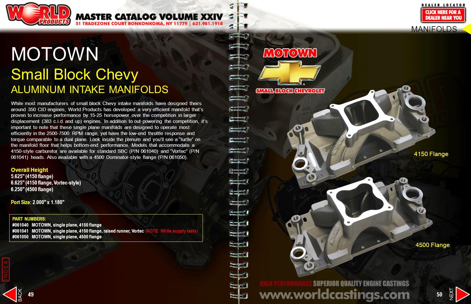 MOTOWN Small Block Chevy ALUMINUM INTAKE MANIFOLDS MANIFOLDS
