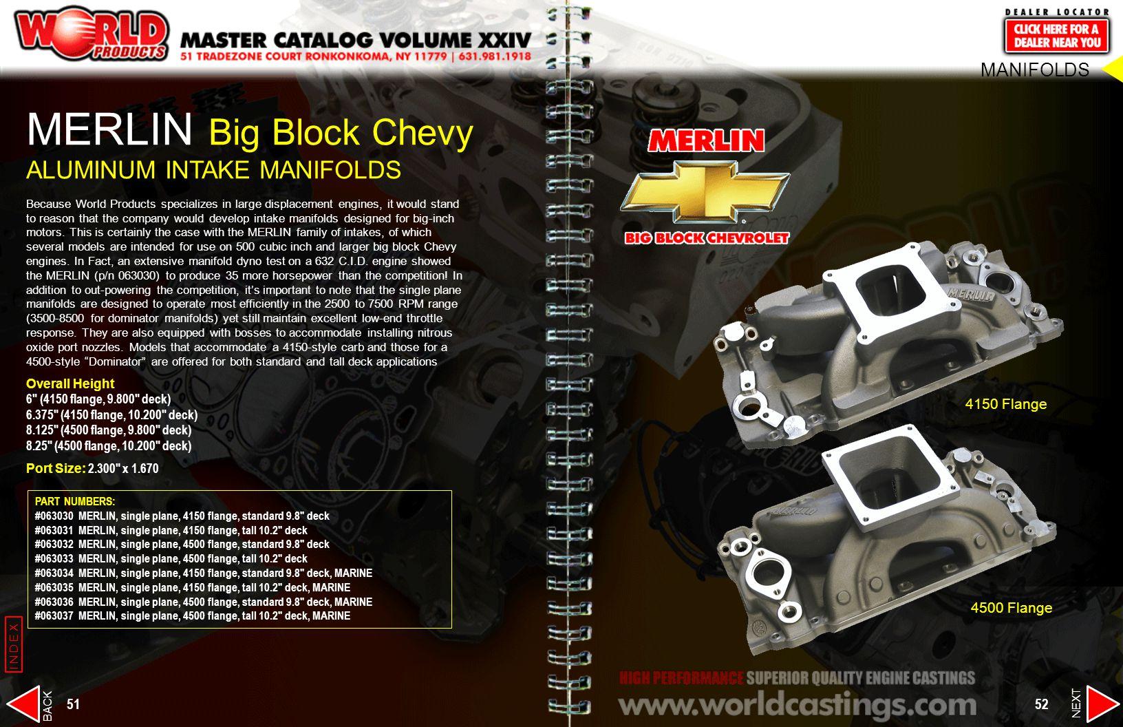 MERLIN Big Block Chevy ALUMINUM INTAKE MANIFOLDS