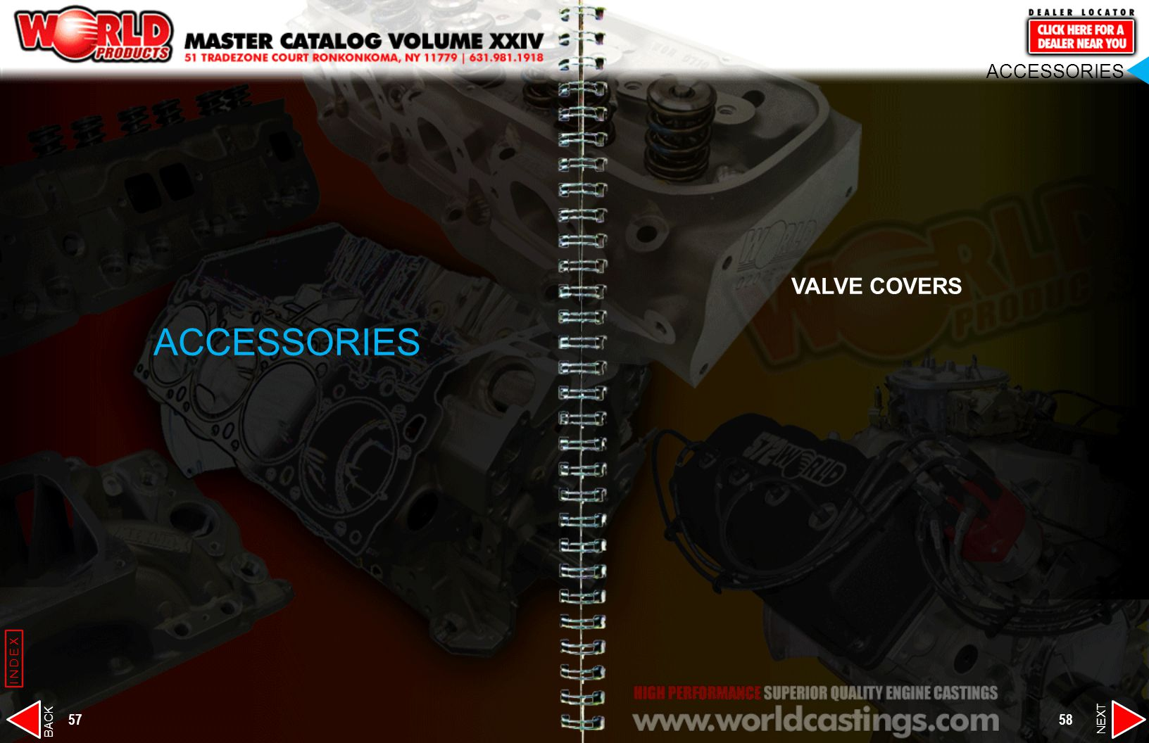 ACCESSORIES VALVE COVERS. ACCESSORIES. INDEX. BACK. NEXT.