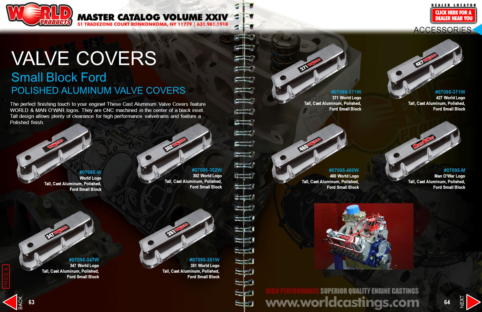 VALVE COVERS Small Block Ford POLISHED ALUMINUM VALVE COVERS