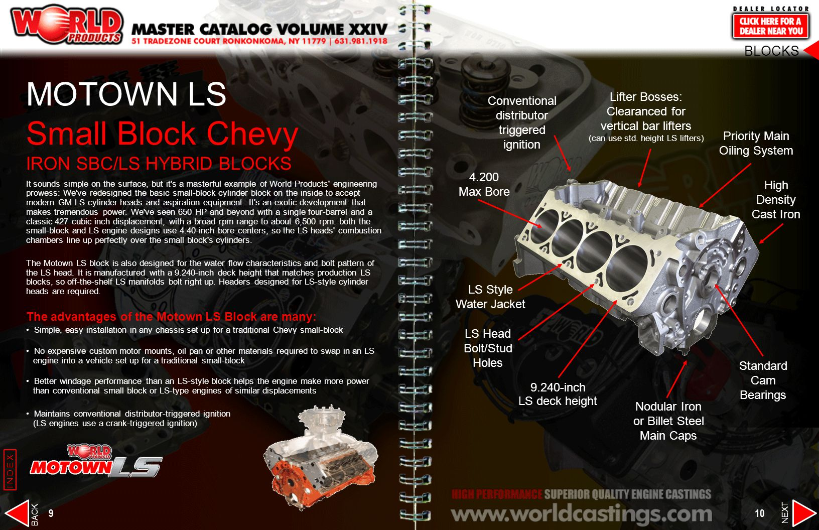 MOTOWN LS Small Block Chevy IRON SBC/LS HYBRID BLOCKS