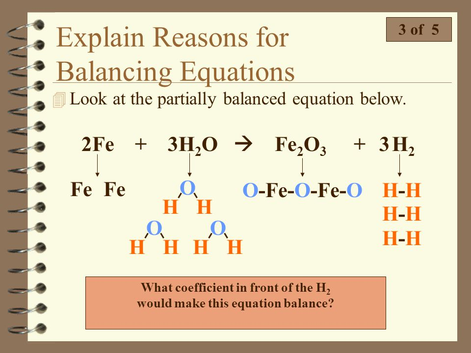 What coefficient in front of the H2 would make this equation balance