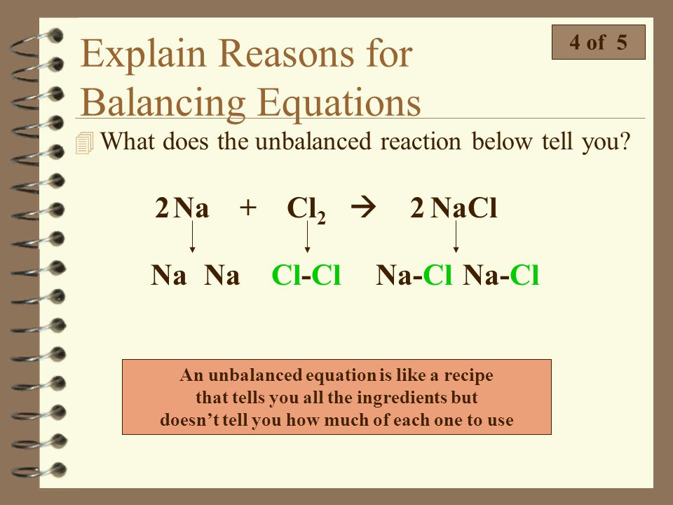 Explain Reasons for Balancing Equations