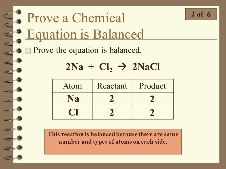 Prove a Chemical Equation is Balanced
