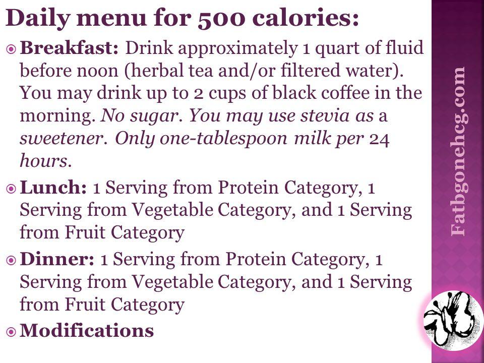 Daily menu for 500 calories: