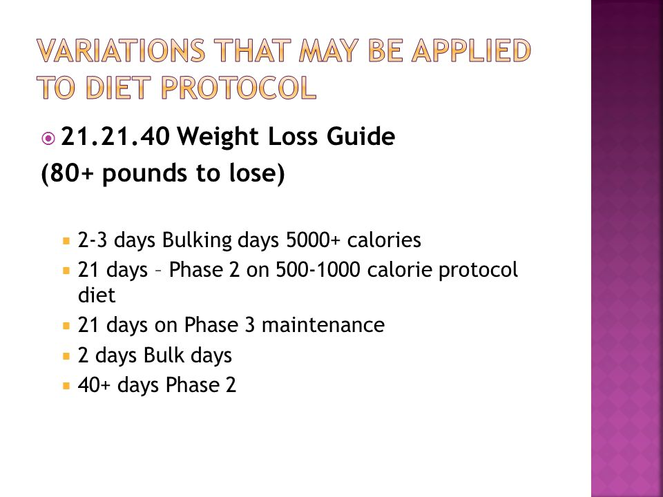 Variations that may be applied to diet protocol