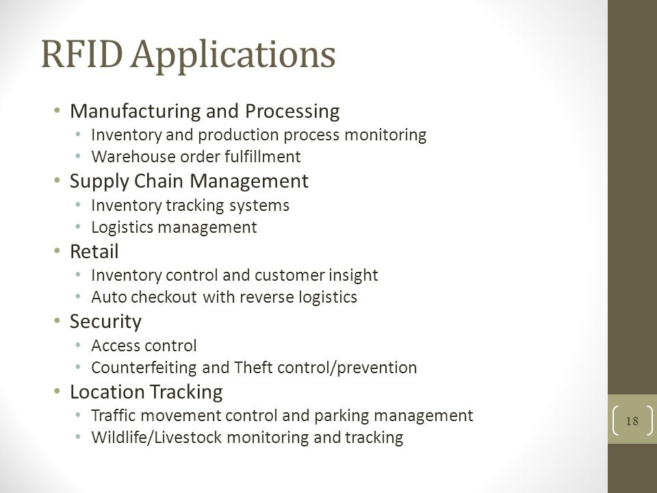 RFID Applications Manufacturing and Processing Supply Chain Management