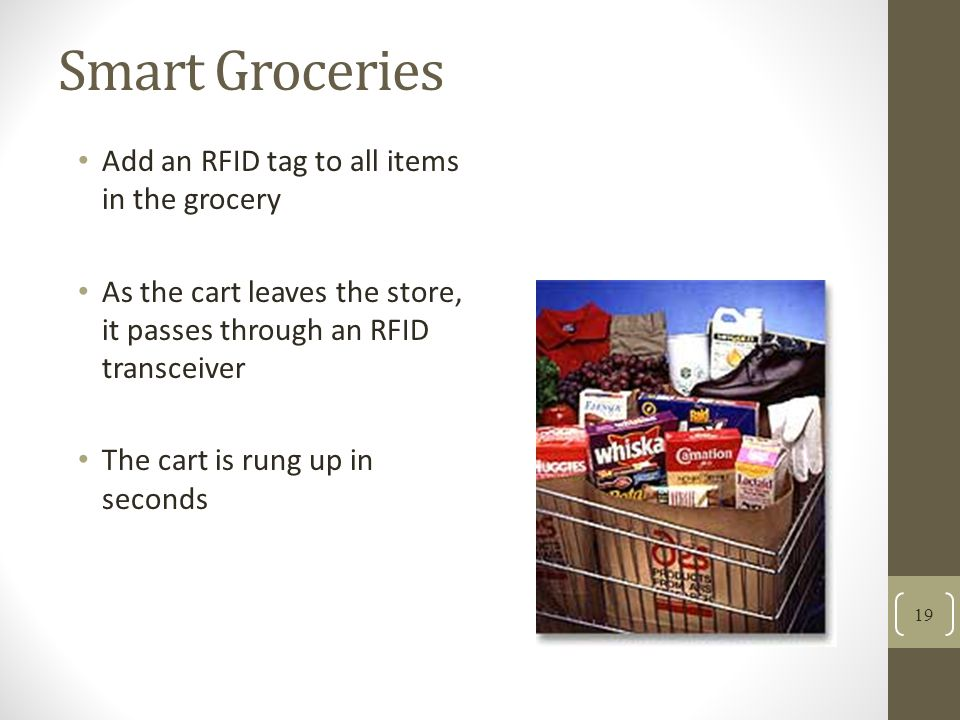 Smart Groceries Add an RFID tag to all items in the grocery