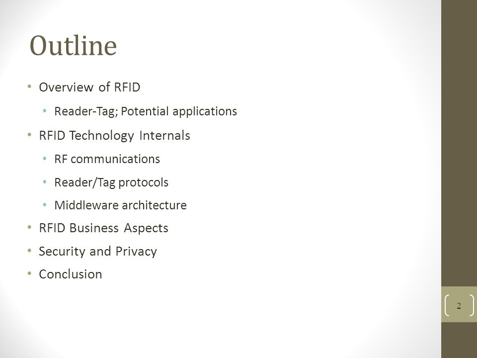 Outline Overview of RFID RFID Technology Internals