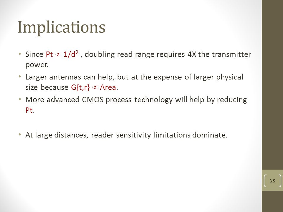 Implications Since Pt  1/d2 , doubling read range requires 4X the transmitter power.