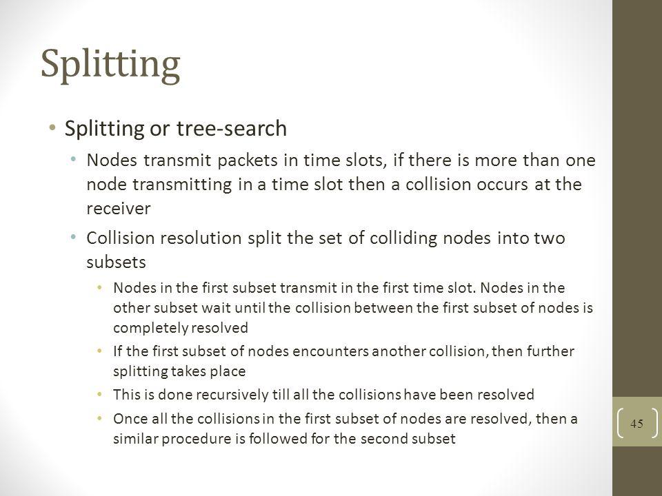 Splitting Splitting or tree-search