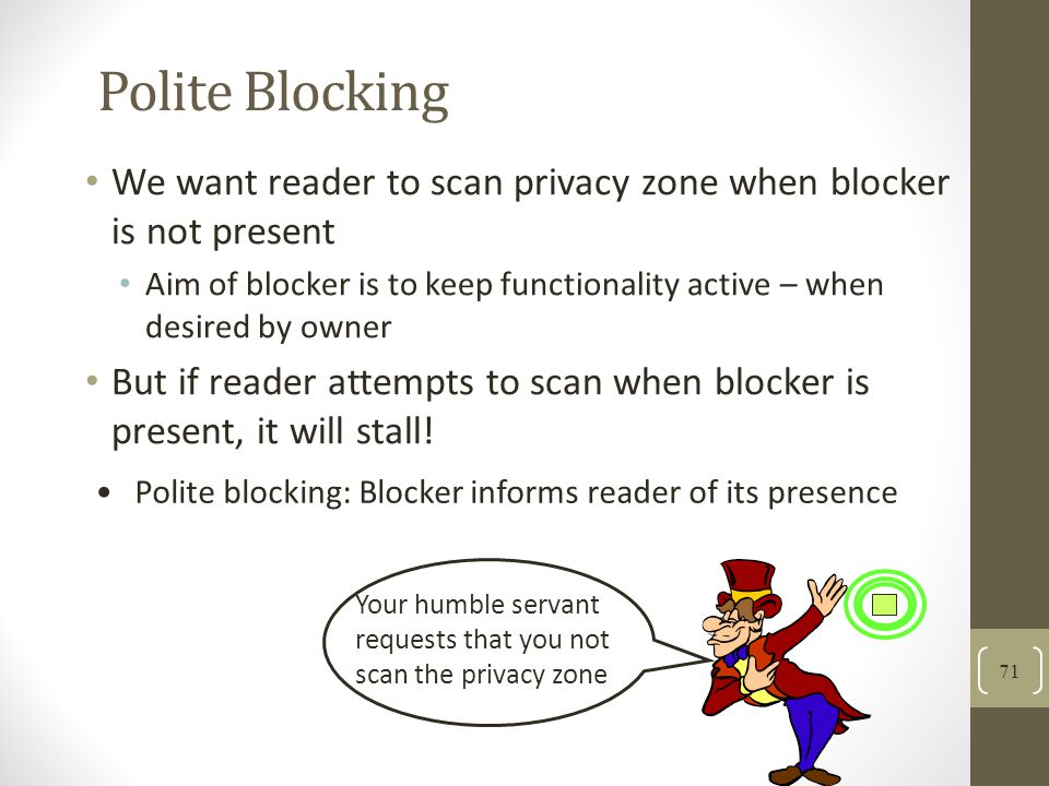 Polite Blocking We want reader to scan privacy zone when blocker is not present.