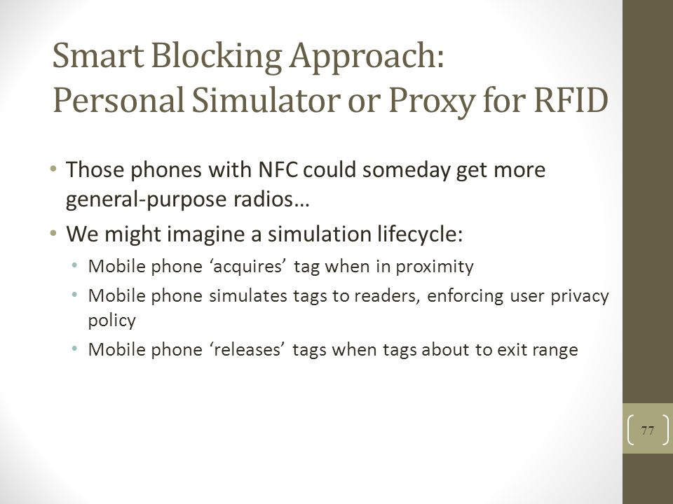 Smart Blocking Approach: Personal Simulator or Proxy for RFID