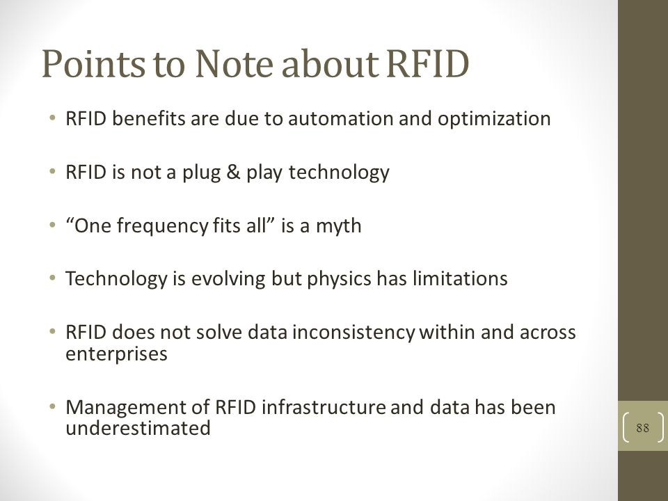 Points to Note about RFID
