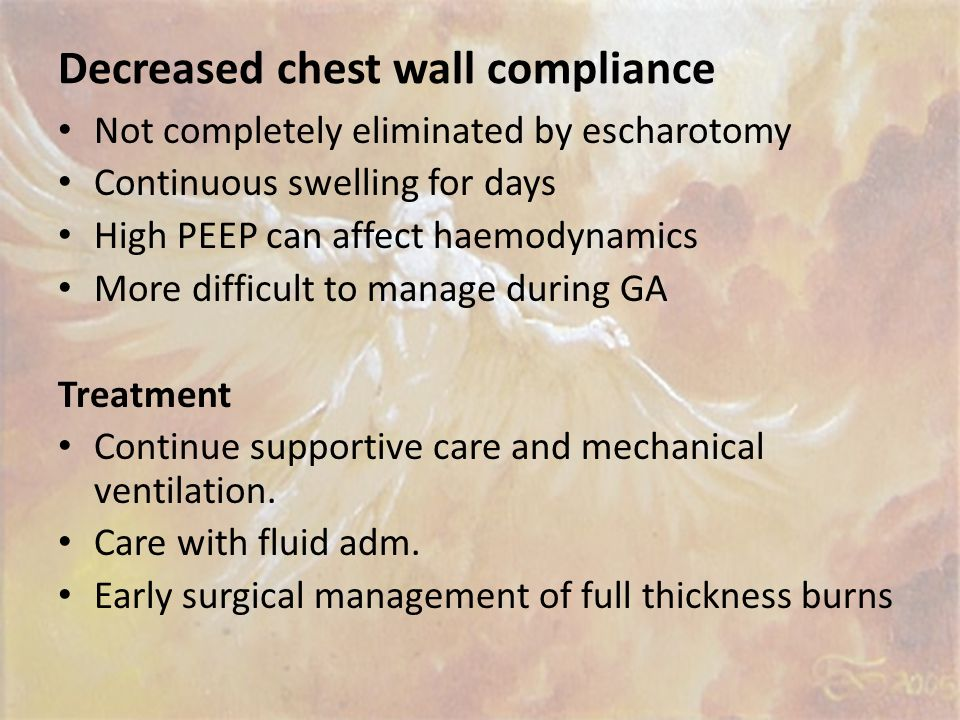 Decreased chest wall compliance