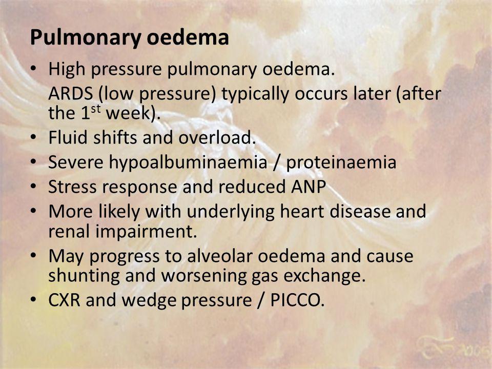 Pulmonary oedema High pressure pulmonary oedema.