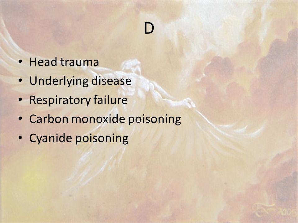 D Head trauma Underlying disease Respiratory failure