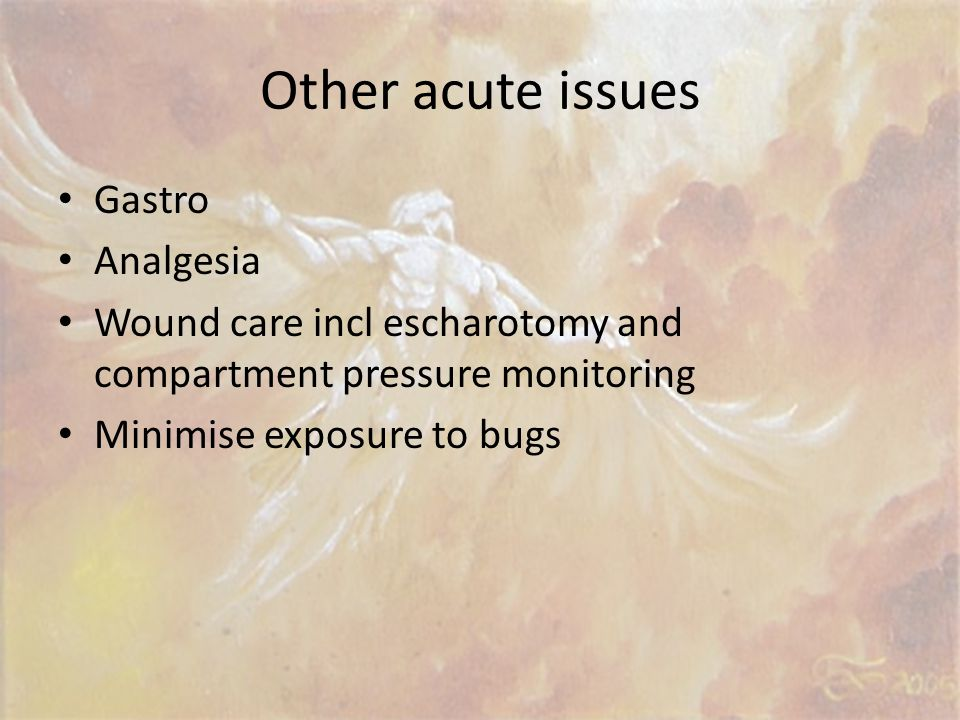 Other acute issues Gastro Analgesia