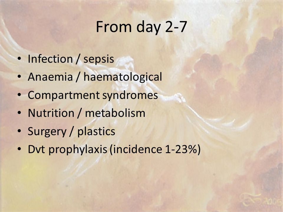 From day 2-7 Infection / sepsis Anaemia / haematological