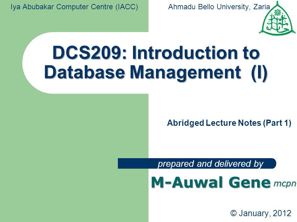 DCS209: Introduction to Database Management (I)