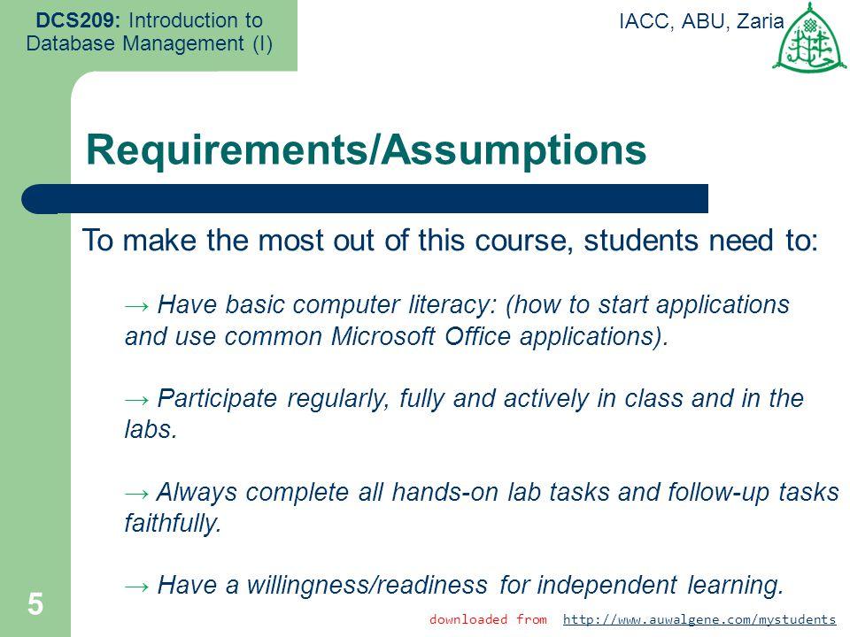 Requirements/Assumptions