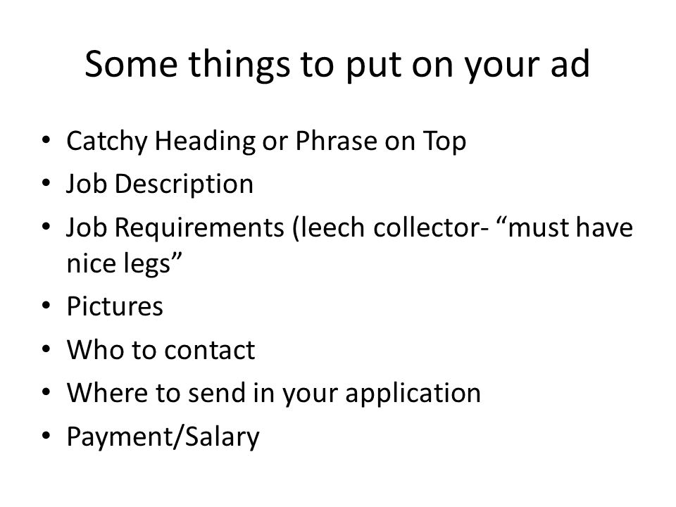 Some things to put on your ad