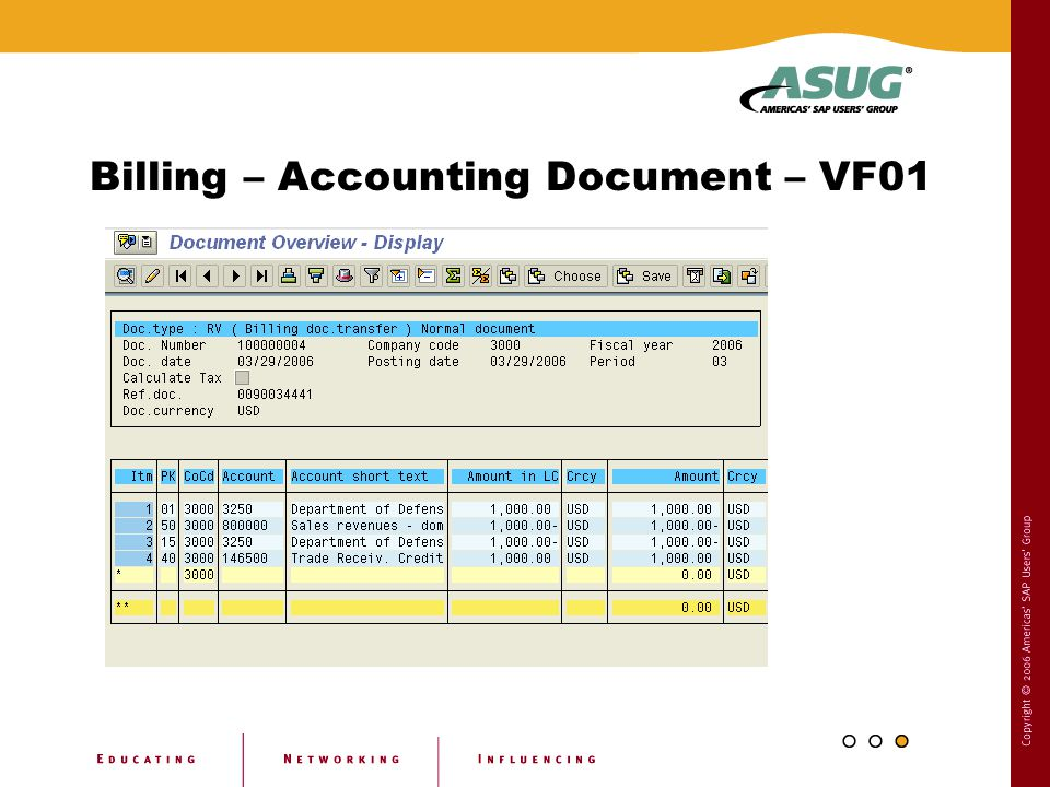 Billing – Accounting Document – VF01
