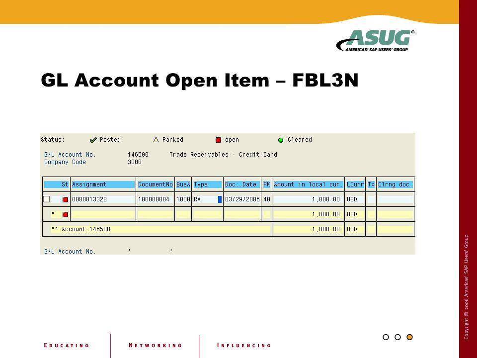 GL Account Open Item – FBL3N