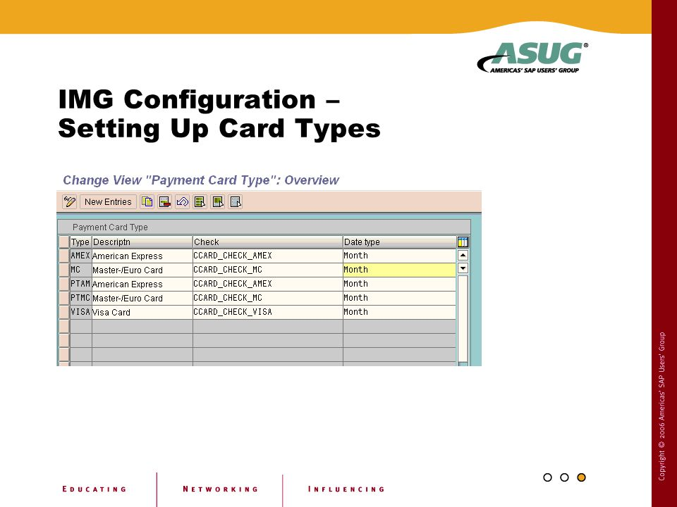 IMG Configuration – Setting Up Card Types