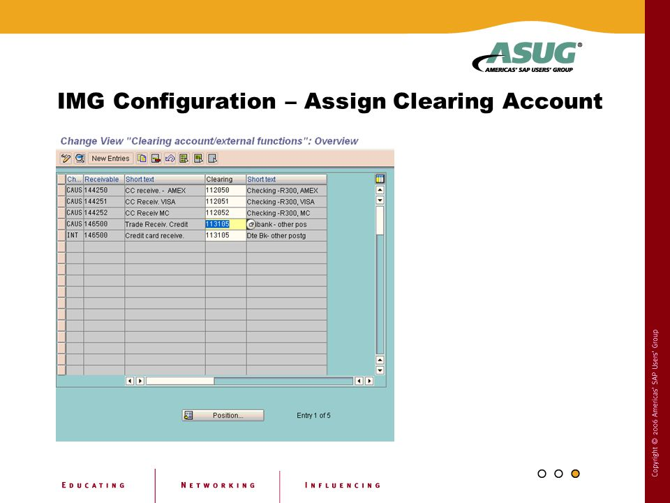 IMG Configuration – Assign Clearing Account