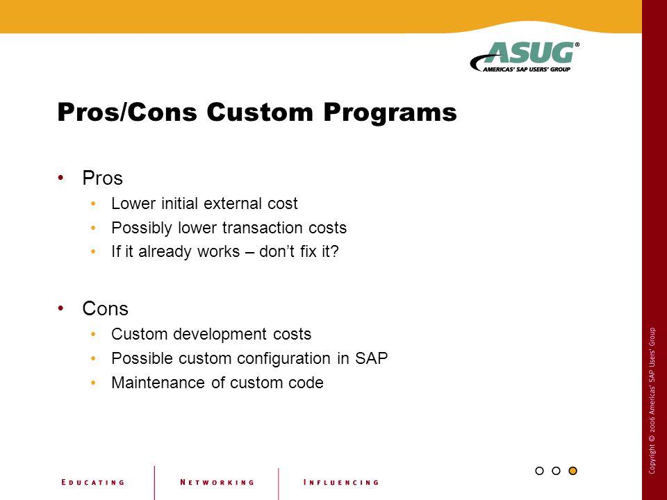 Pros/Cons Custom Programs