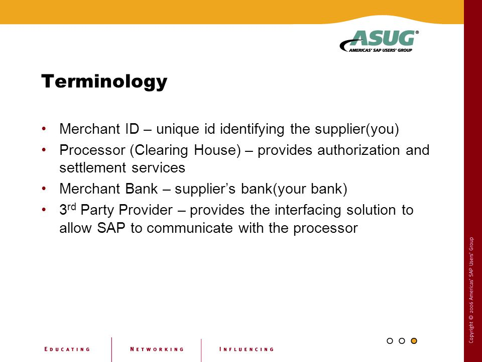 Terminology Merchant ID – unique id identifying the supplier(you)