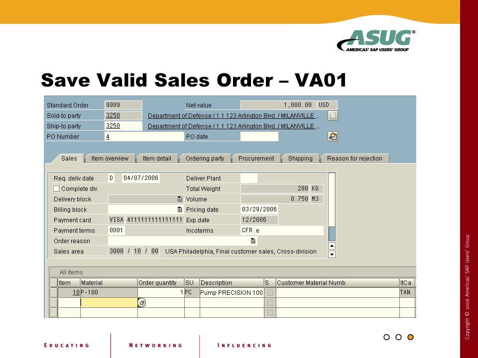 Save Valid Sales Order – VA01