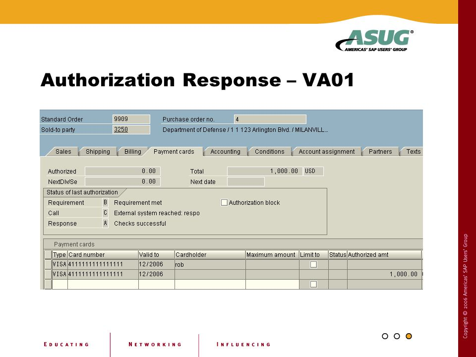 Authorization Response – VA01