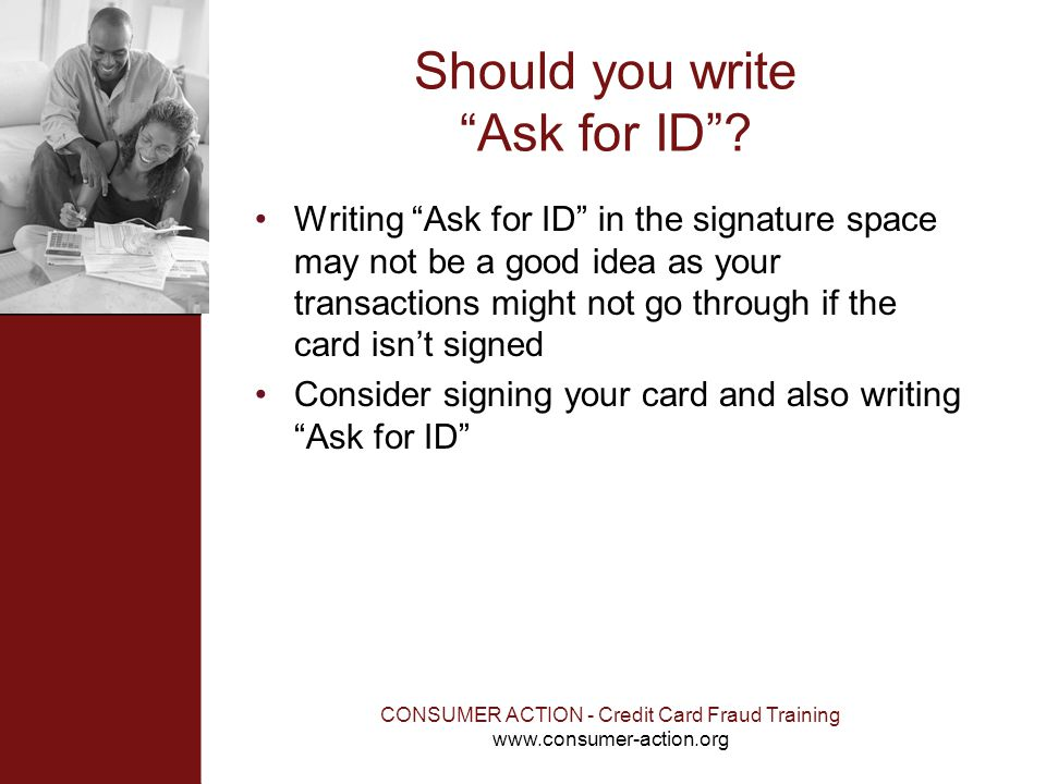 Should you write Ask for ID