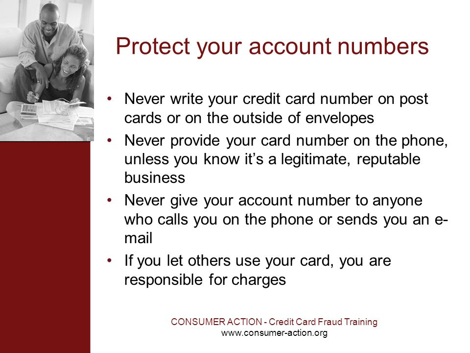 Protect your account numbers