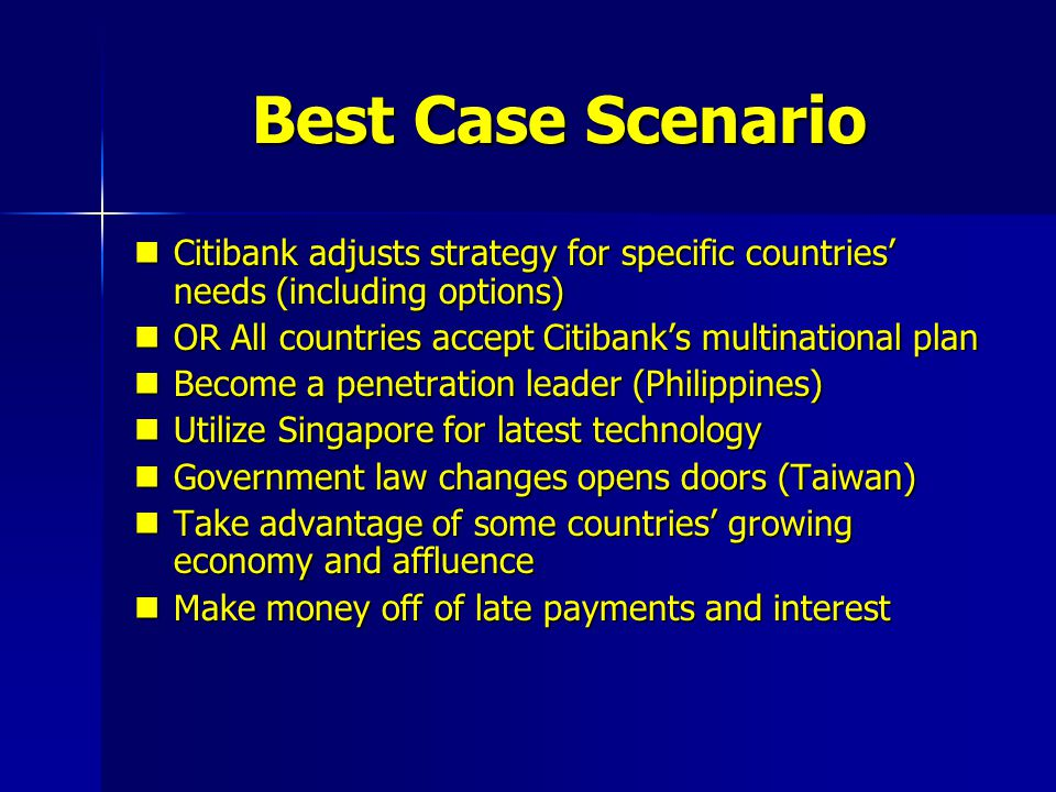 Best Case Scenario Citibank adjusts strategy for specific countries' needs (including options) OR All countries accept Citibank's multinational plan.