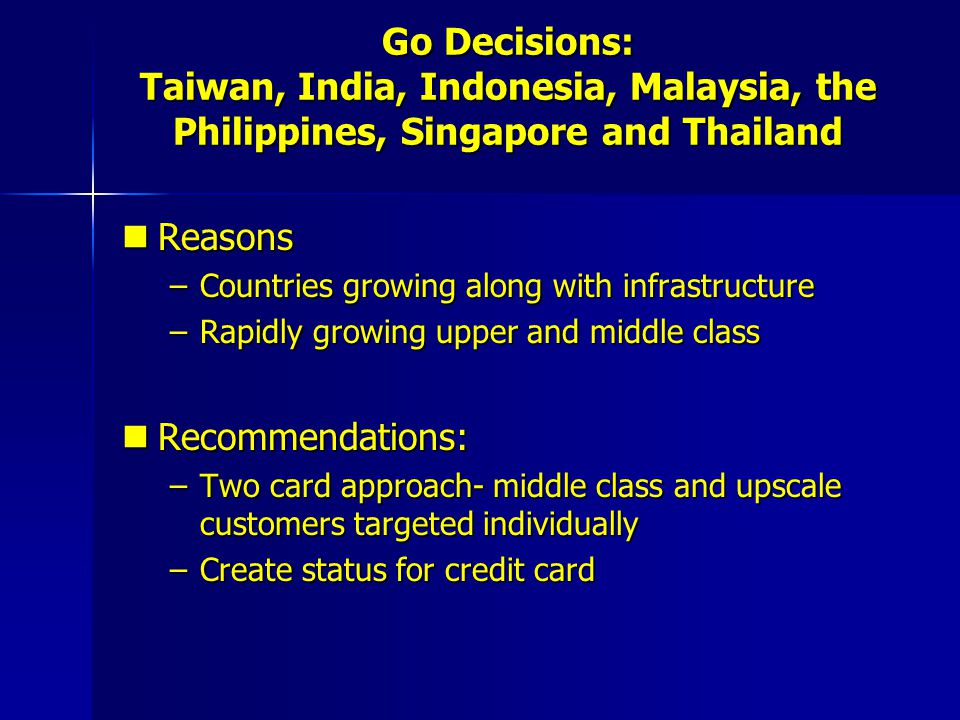 Go Decisions: Taiwan, India, Indonesia, Malaysia, the Philippines, Singapore and Thailand