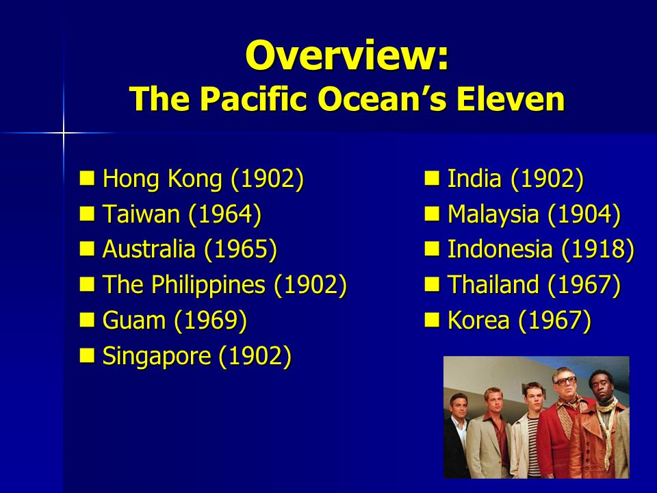 Overview: The Pacific Ocean's Eleven
