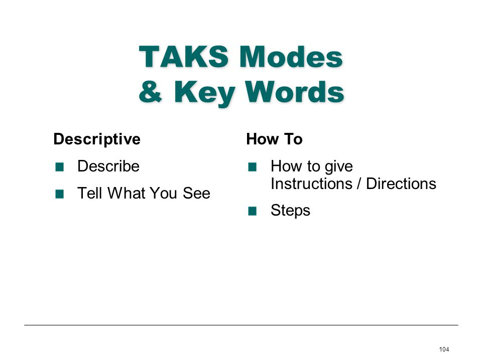 TAKS Modes & Key Words Descriptive Describe Tell What You See How To