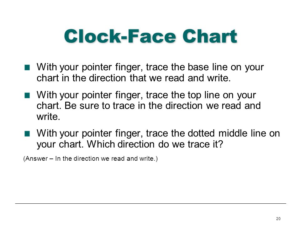 Clock-Face Chart With your pointer finger, trace the base line on your chart in the direction that we read and write.
