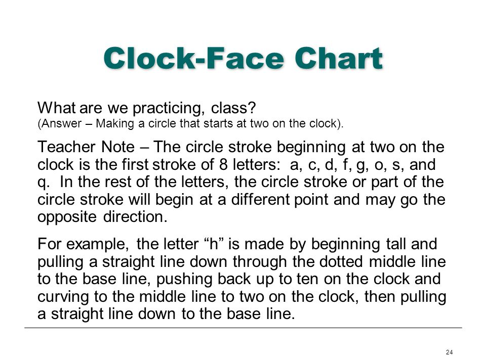 Clock-Face Chart What are we practicing, class (Answer – Making a circle that starts at two on the clock).