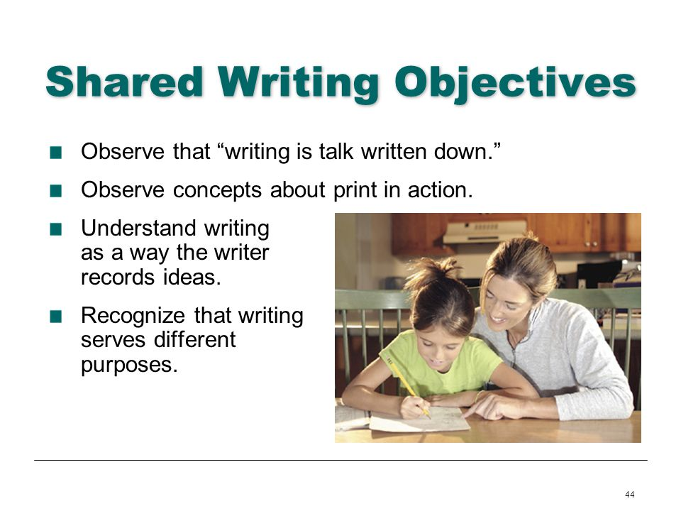 Shared Writing Objectives