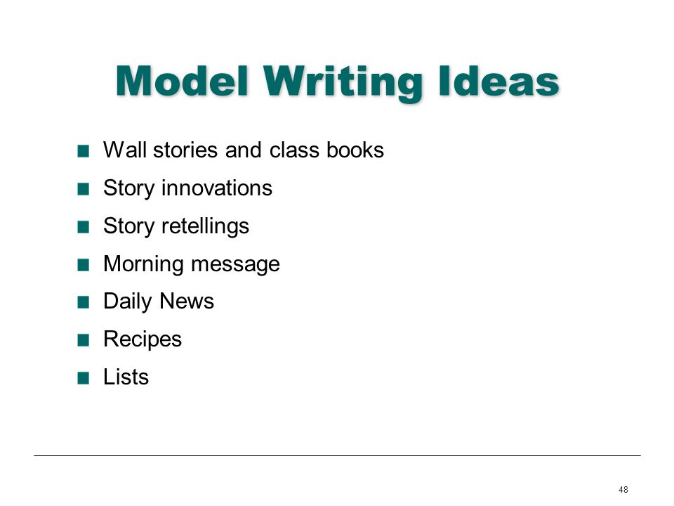 Model Writing Ideas Wall stories and class books Story innovations