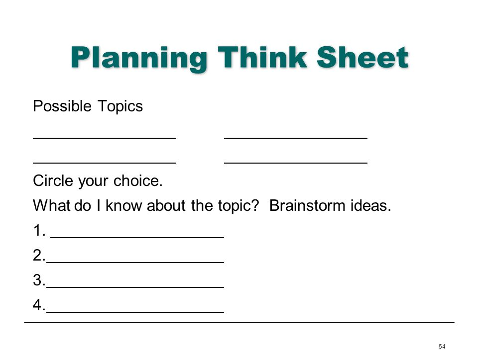 Planning Think Sheet Possible Topics Circle your choice.